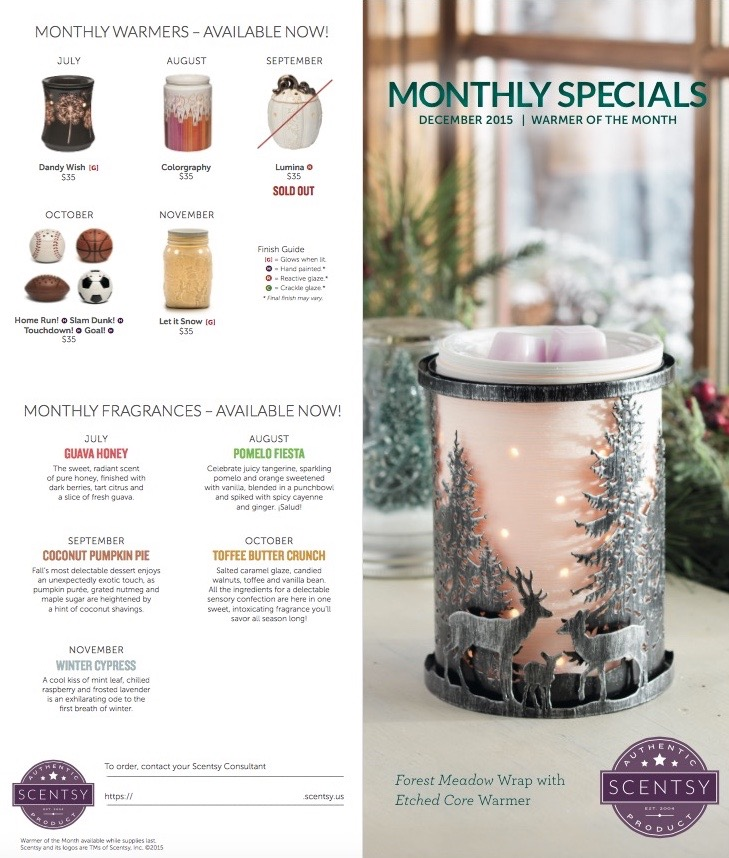 Scentsy December 2015 Warmer of the Month - Forest Meadow