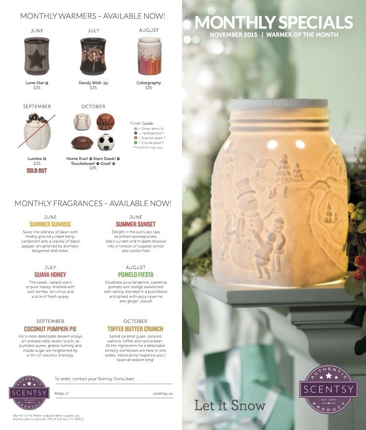 Scentsy November 2015 Warmer of the Month - Let it Snow