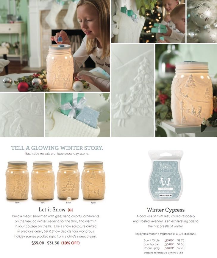 Scentsy 2015 November Warmer of the Month ~ Let it Snow, Scentsy 2015 November Scent of the Month ~ Winter Cypress
