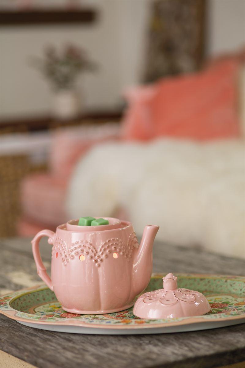 Pink Home Sweet Home Teapot Wax Melt Burner  includes a free wax tart