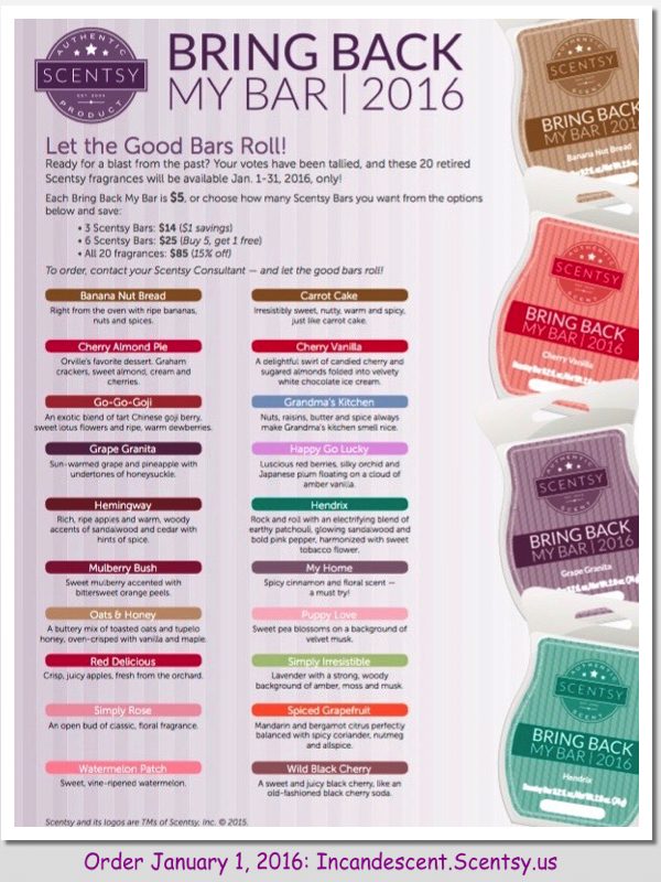 Scentsy Bring Back My Bar 2016 | Scentsy Bring Back My Bar Winners Available January 1, 2016 ~ Let the Good Times Roll