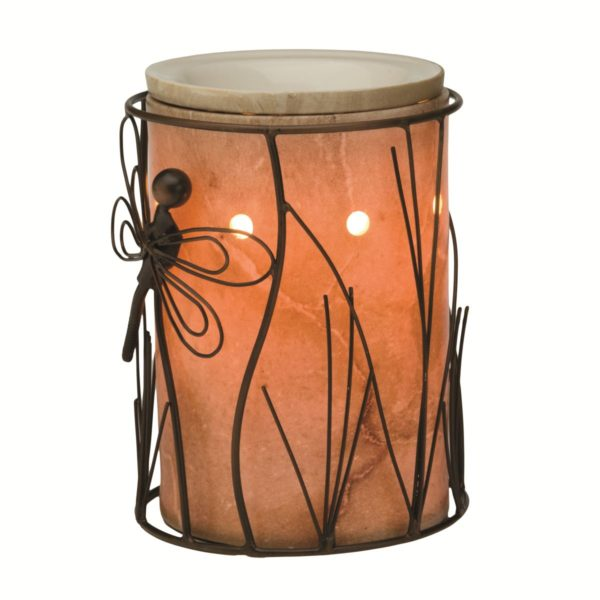 SCENTSY DRAGONFLY WRAP WITH TRAVERTINE SILHOUETTE CORE SCENTSY WARMER