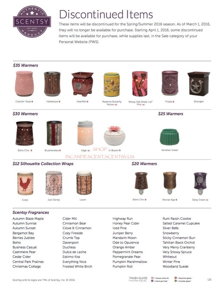 SCENTSY SPRING / SUMMER 2015 DISCONTINUED LIST