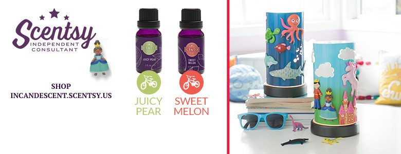 KIDS SCENTSY DIFFUSERS - DEEP BLUE SEA SCENTSY DIFFUSER, ONCE UPON A TIME SCENTSY DIFFUSER, JUICE PEAR SCENTSY OIL, SWEET MELON SCENTSY OIL
