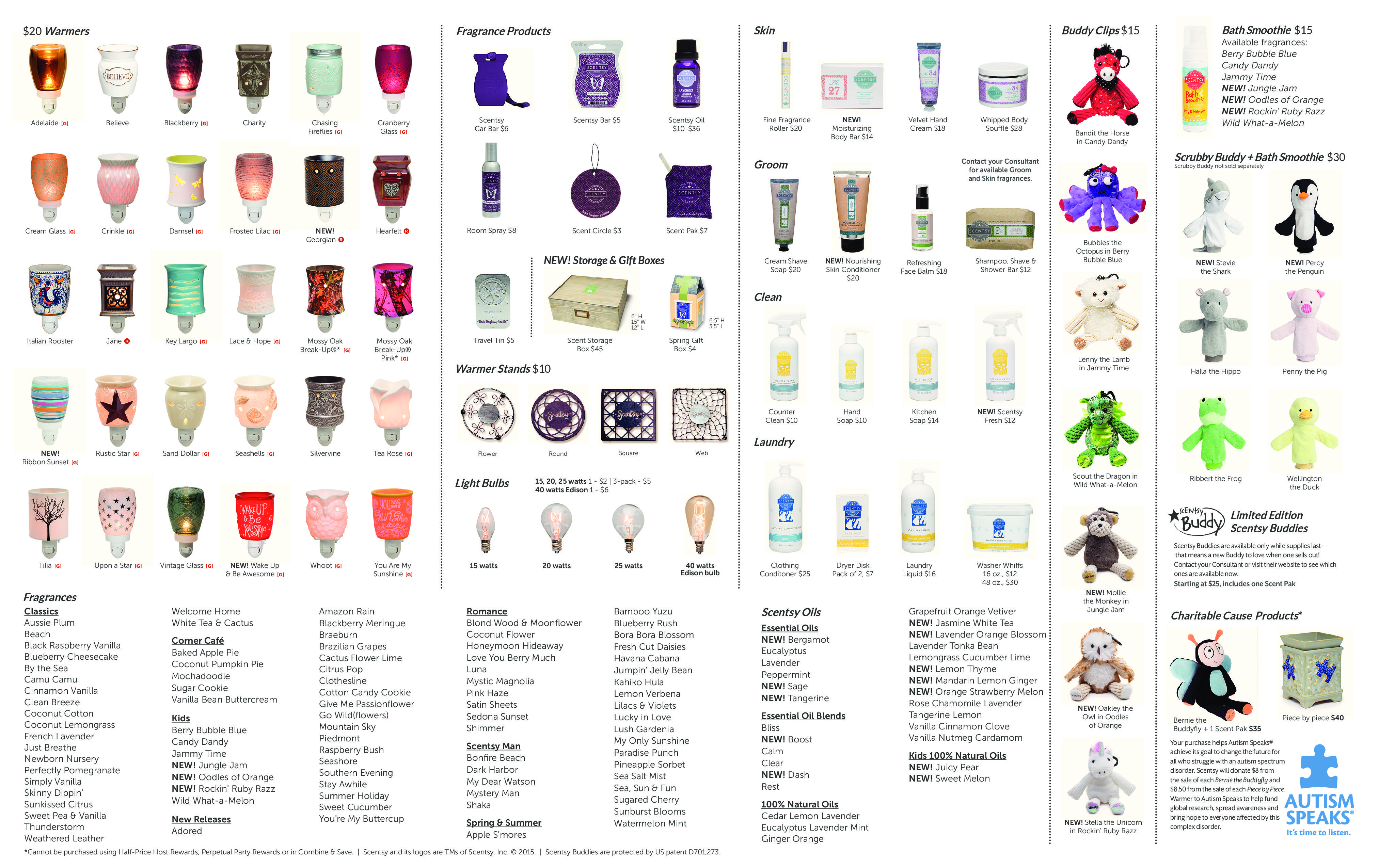 SCENTSY SPRING / SUMMER 2016 PRODUCT LIST