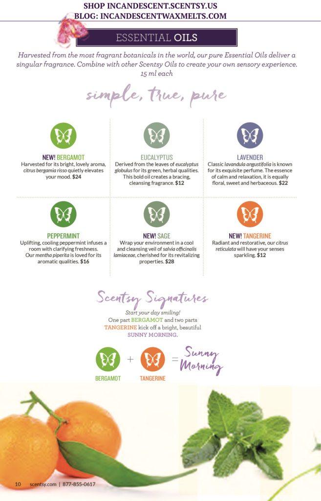 SCENTSY SPRING / SUMMER 2016 ESSENTIAL OILS