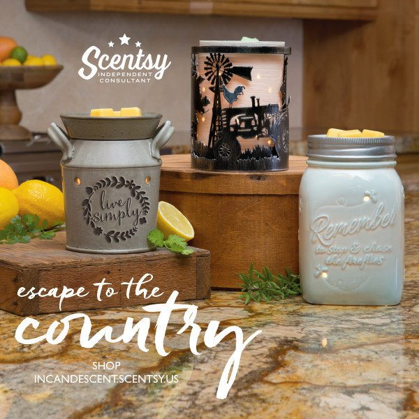 LIVE SIMPLY SCENTSY WARMER, COUNTRYSIDE WRAP WITH ETCHED SCENTSY CORE, CHASING FIREFLIES SCENTSY WARMER AVAILABLE MARCH 1, 2016