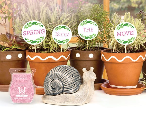 SCENTSY MARCH2016 WARMER & SCENT OF THE MONTH ~ GARDEN SNAIL AND PINK TULIPS