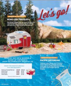 SCENTSY MAY 2016 WARMER & SCENT OF THE MONTH - ROAD LESS TRAVELED CAMPER SCENTSY WARMER & PACIFIC DAYDREAM SCENTSY FRAGRANCE