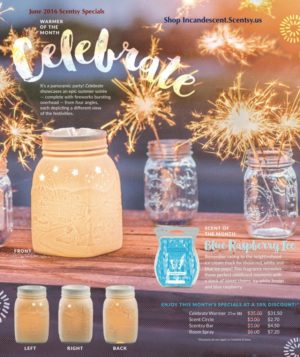 SCENTSY JULY 2016 WARMER AND SCENT OF THE MONTH ~ CELEBRATE MASON JAR WARMER & BLUE RASPBERRY FRAGRANCE