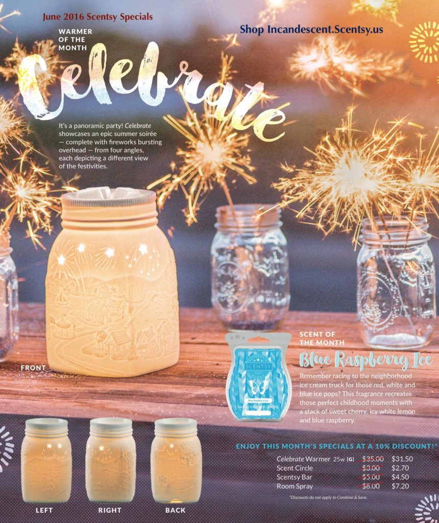 Scentsy June 2016 Warmer and Scent of the Month