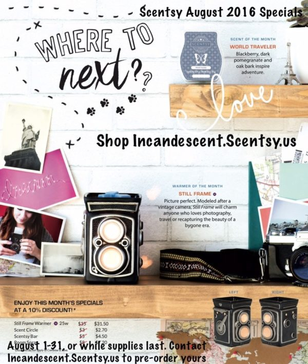 SCENTSY AUGUST 2016 WARMER & SCENT OF THE MONTH