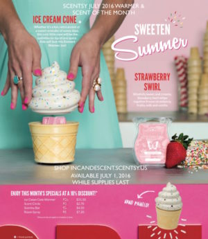 SCENTSY JULY 2016 WARMER & SCENT OF THE MONTH, ICE CREAM CONE SCENTSY WARMER AND STRAWBERRY SWIRL