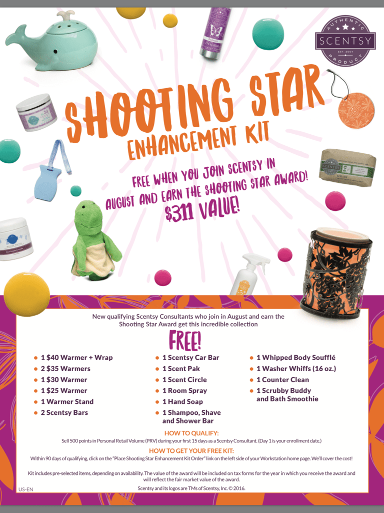 SCENTSY SHOOTING STAR KIT AUGUST 2016