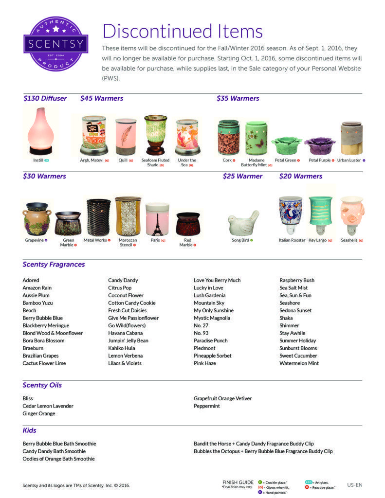 Discontinued Scentsy Fragrances Fall 2016 Buy Scentsy