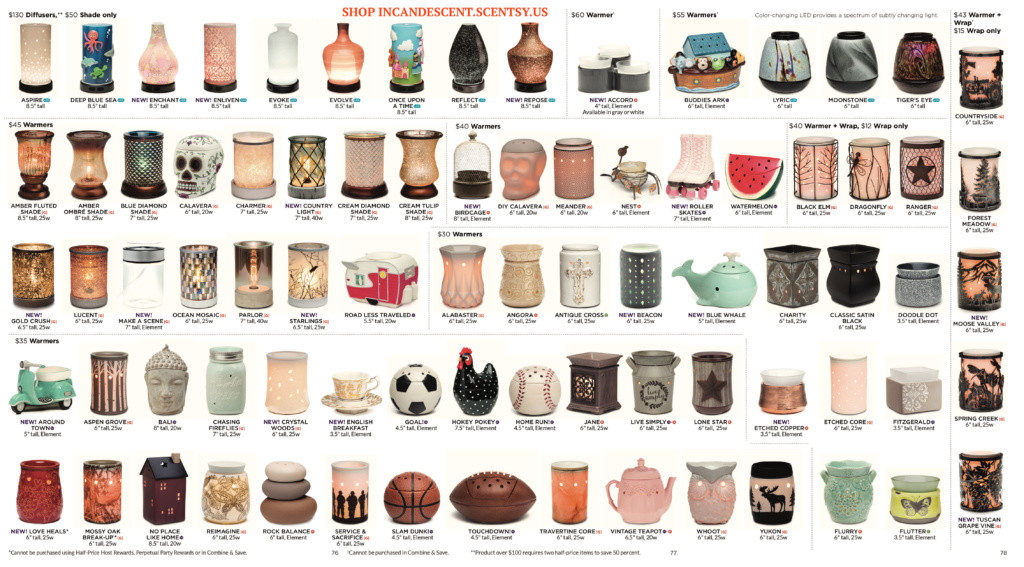 SCENTSY QUICK PRODUCT GUIDE FALL WINTER 2016