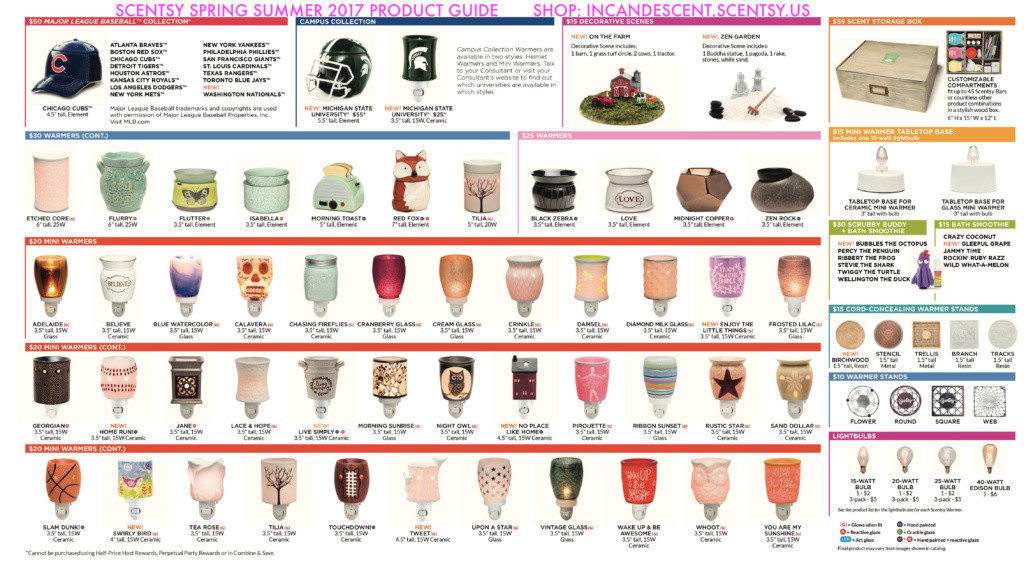 SCENTSY FALL WINTER 2016 QUICK PRODUCT GUIDE
