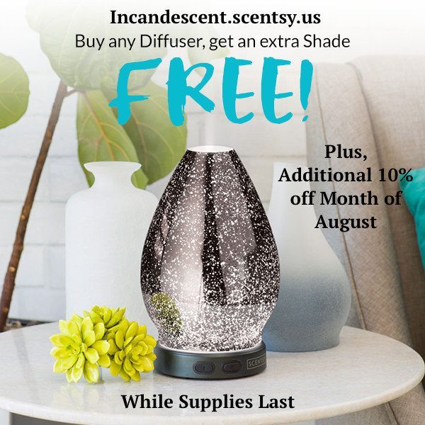 AUGUST DIFFUSER PROMO | Buy a Scentsy Diffuser, Get an extra Scentsy Shade FREE - August 2016 only, plus additional Sale Discount! | Scentsy® Online Store | Scentsy Warmers & Scents | Incandescent.Scentsy.us