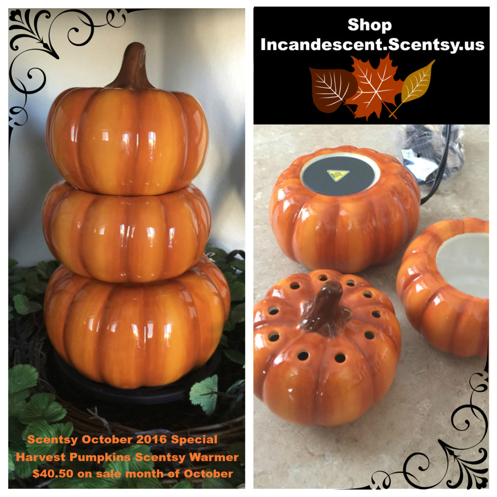 HARVEST PUMPKINS SCENTSY WARMER 2016 OCTOBER SPECIAL
