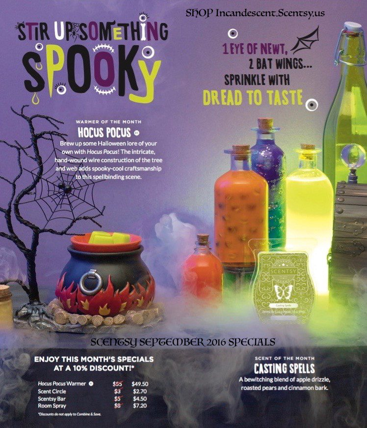 SCENTSY SEPTEMBER WARMER & SCENT OF THE MONTH HOCUS POCUS CASTING SPELLS | Buy a Scentsy Diffuser, Get an extra Scentsy Shade FREE - August 2016 only, plus additional Sale Discount! | Scentsy® Online Store | Scentsy Warmers & Scents | Incandescent.Scentsy.us