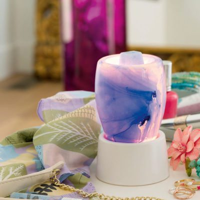 SCENTSY BLUE WATERCOLOR WARMER WITH NIGHTLIGHT GLASS TABLETOP BASE