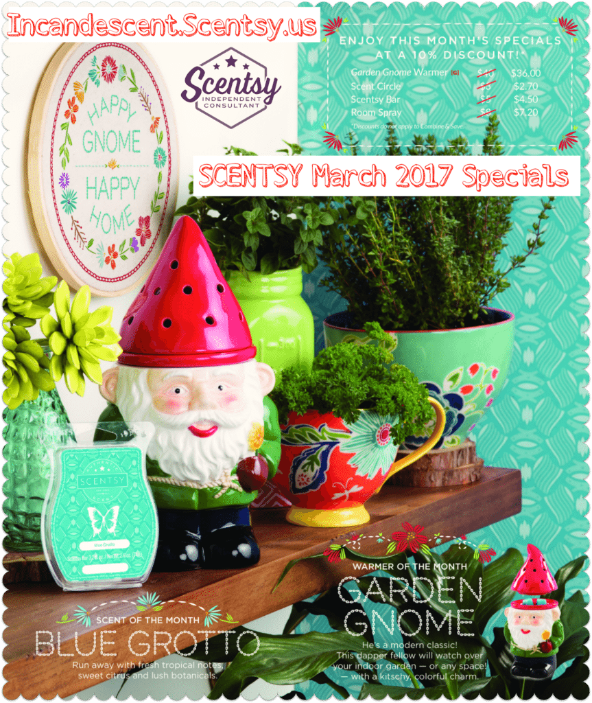 SCENTSYMARCH2017SPECIALS   SCENTSY MARCH 2017 WARMER AND SCENT OF THE MONTH ~ GARDEN GNOME SCENTSY WARMER & BLUE GROTTO FRAGRANCE   Scentsy® Online Store   Scentsy Warmers & Scents   Incandescent.Scentsy.us