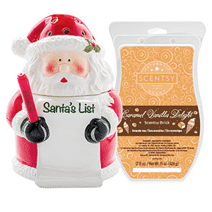 SANTA'S LIST WARMER & CARAMEL DELIGHT BRICK $40