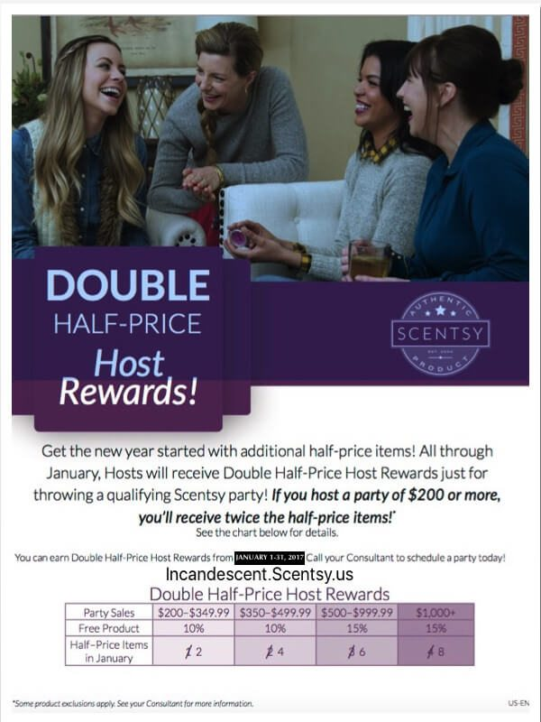 SCENTSY DOUBLE HOST REWARDS JANUARY 1-31, 2017 | Have a Scentsy Party ~ Double Half-price Host Rewards January 2017! | Scentsy® Online Store | Scentsy Warmers & Scents | Incandescent.Scentsy.us