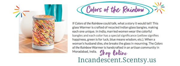 Incandescent.Scentsy.us COLORS OF THE RAINBOW SCENTSY WARMER STORY | COLORS OF THE RAINBOW LAMPSHADE SCENTSY WARMER | DISCONTINUED | Shop Scentsy | Incandescent.Scentsy.us