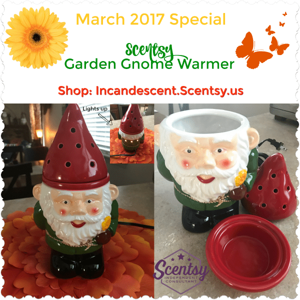 SCENTSY GARNDEN GNOME WARMER MARCH 2017