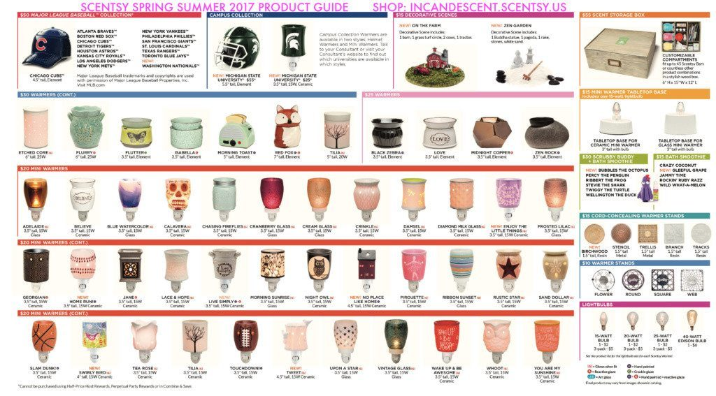SCENTSY SPRING SUMMER 2017 PRODUCT GUIDE       SHOP: INCANDESCENT.SCENTSY.US PAGE 2   SCENTSY SPRING SUMMER 2017 CATALOG QUICK PRODUCT GUIDE   Scentsy® Online Store   Scentsy Warmers & Scents   Incandescent.Scentsy.us