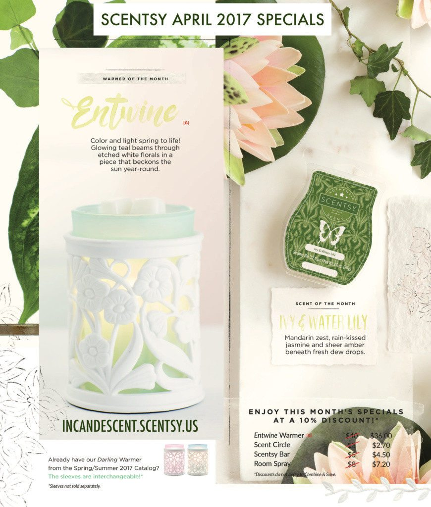 SCENTSY APRIL 2017 WARMER & SCENT OF THE MONTH   SCENTSY APRIL 2017 WARMER AND SCENT OF THE MONTH ~ ENTWINE SCENTSY WARMER & IVY & WATER LILY FRAGRANCE