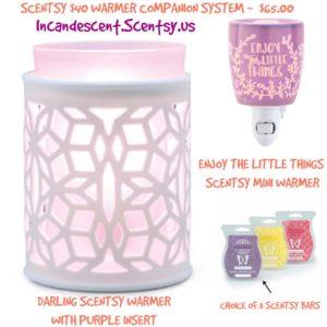 DARLING SCENTSY WARMER PURPLE COMPANION SYSTEM | SCENTSY WARMER & NIGHTLIGHT COMBO IDEAS...