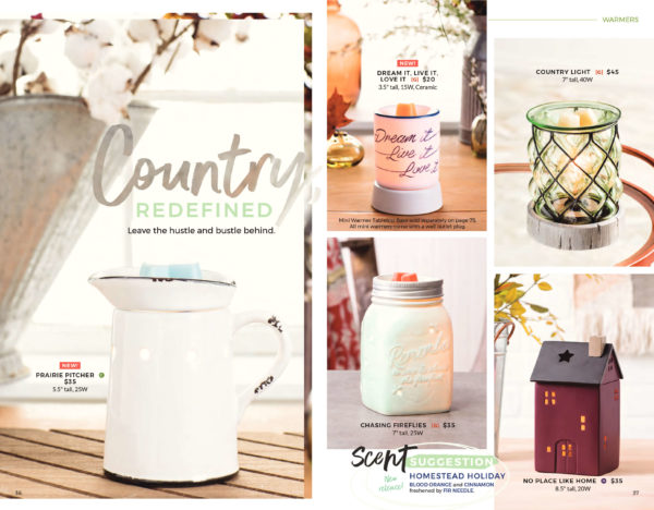 SCENTSY FALL 2017 COUNTRY REDEFINED WARMERS