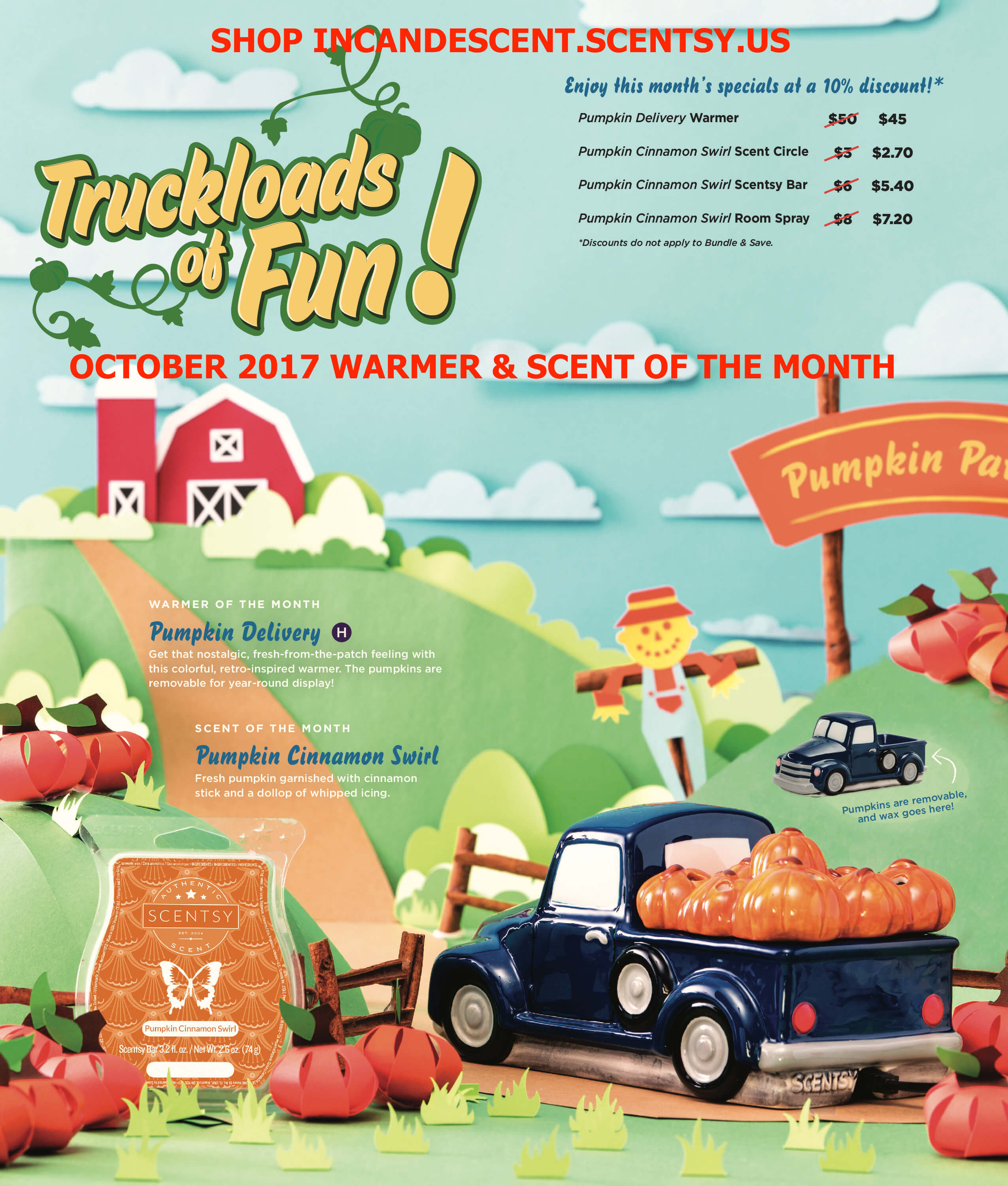 SCENTSY OCTOBER 2017 WARMER & SCENT OF THE MONTH | SCENTSY OCTOBER 2017 WARMER AND SCENT OF THE MONTH - PUMPKIN DELIVERY TRUCK WARMER & PUMPKIN CINNAMON SWIRL SCENTSY FRAGRANCE