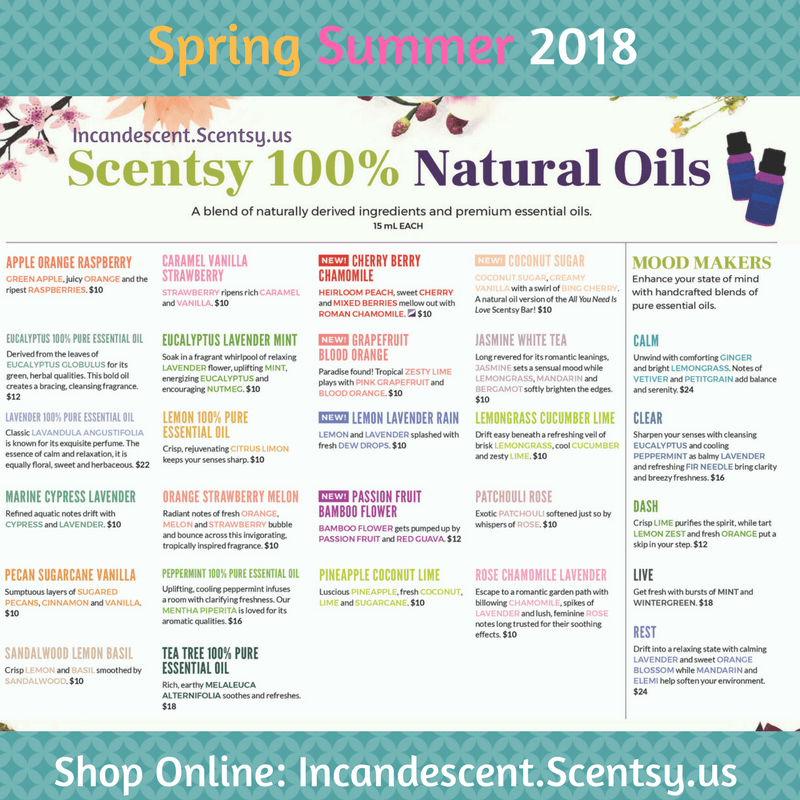 SCENTSY SPRING SUMMER 2018 ESSENTIAL & NATURAL OILS