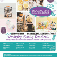 SCENTSY SHOOTING STAR ENCHANCEMENT KIT SPRING SUMMER 2018 INCANDESCENT.SCENTSY.US | It's Glendon the Goat Scentsy Buddy and I feel Lucky Buddy Tee - 2/13/18