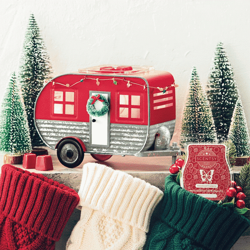 CHRISTMAS CAMPER WARMER & SNOWKISSED CRANBERRY SCENTSY BAR