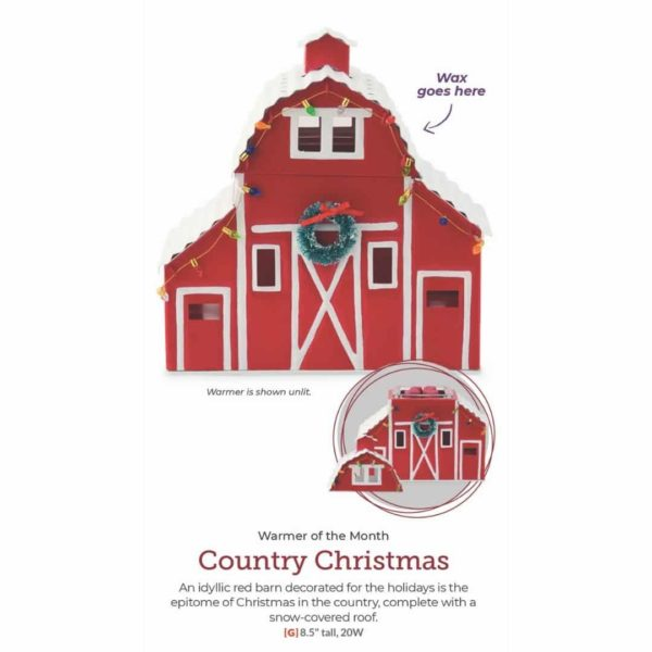 COUNTRY CHRISTMAS SCENTSY WARMER SHOWN WITH TOP OFF