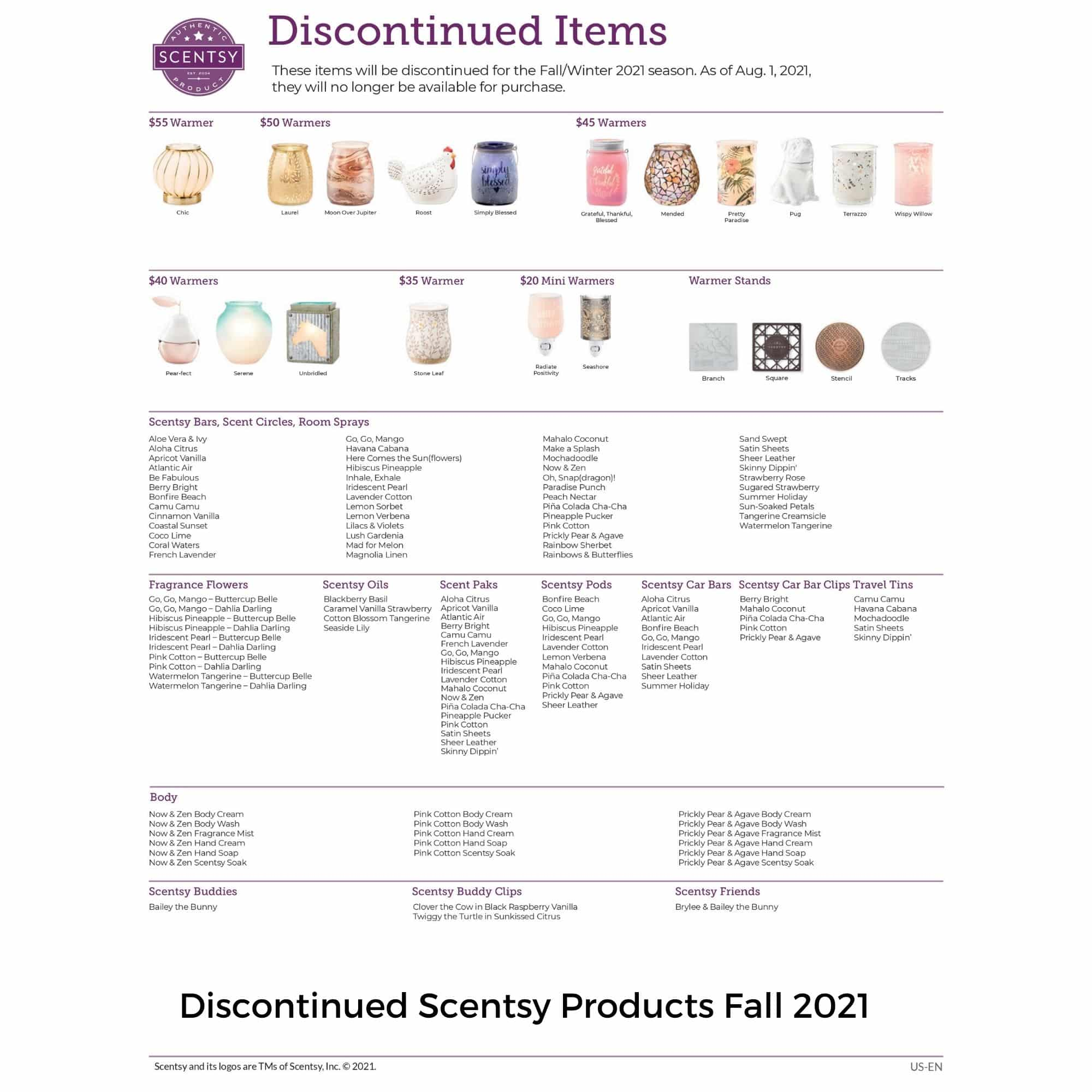 Discontinued Scentsy Products Fall 2021