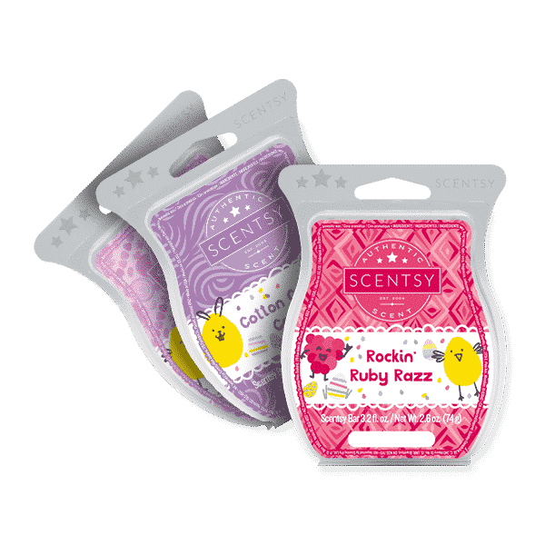 SCENTSY EASTER WAX BAR COLLECTION - ROCKIN RUBY RAZZ, COTTON CANDY COOKIE, CANDY DANDY
