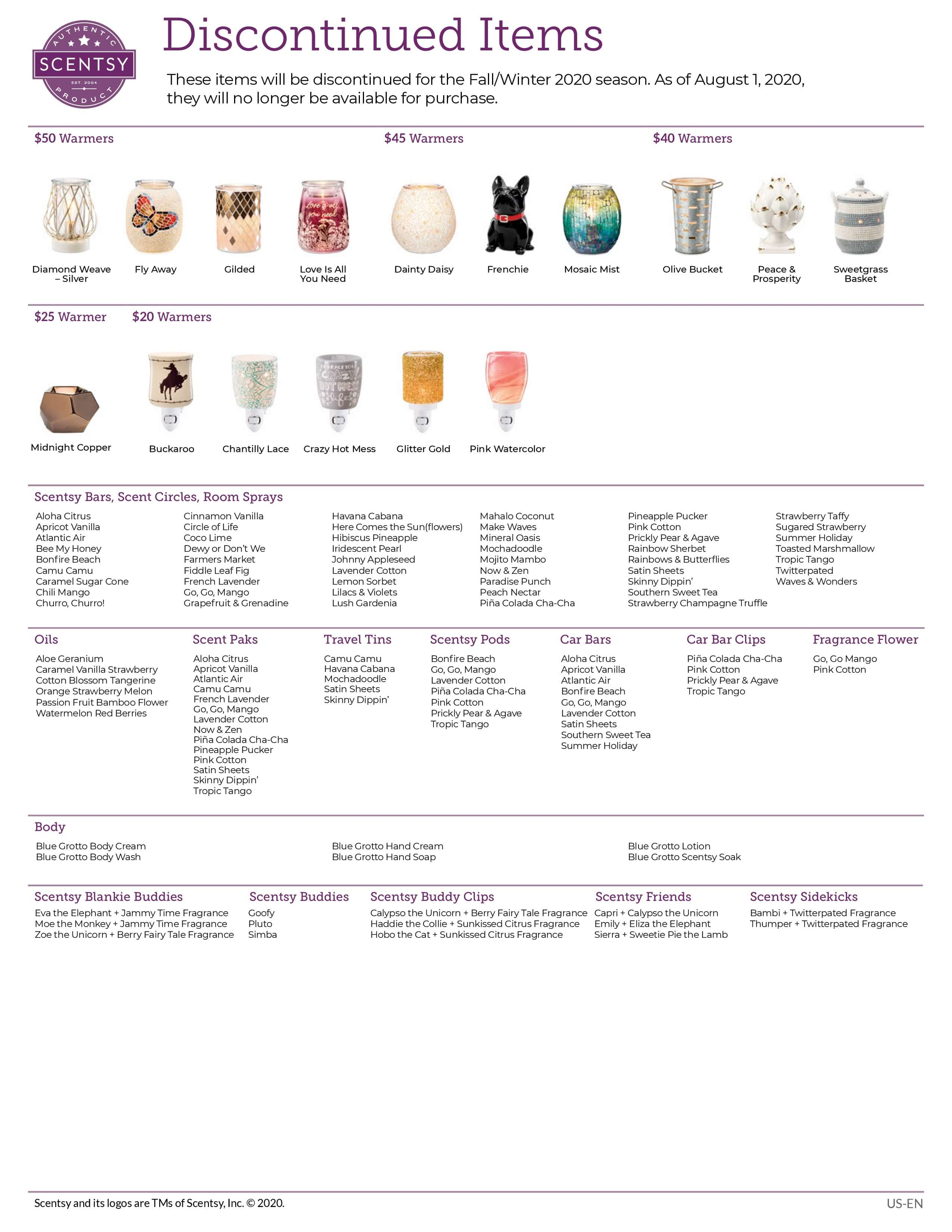 SCENTSY DISCONTINUED FALL 2020