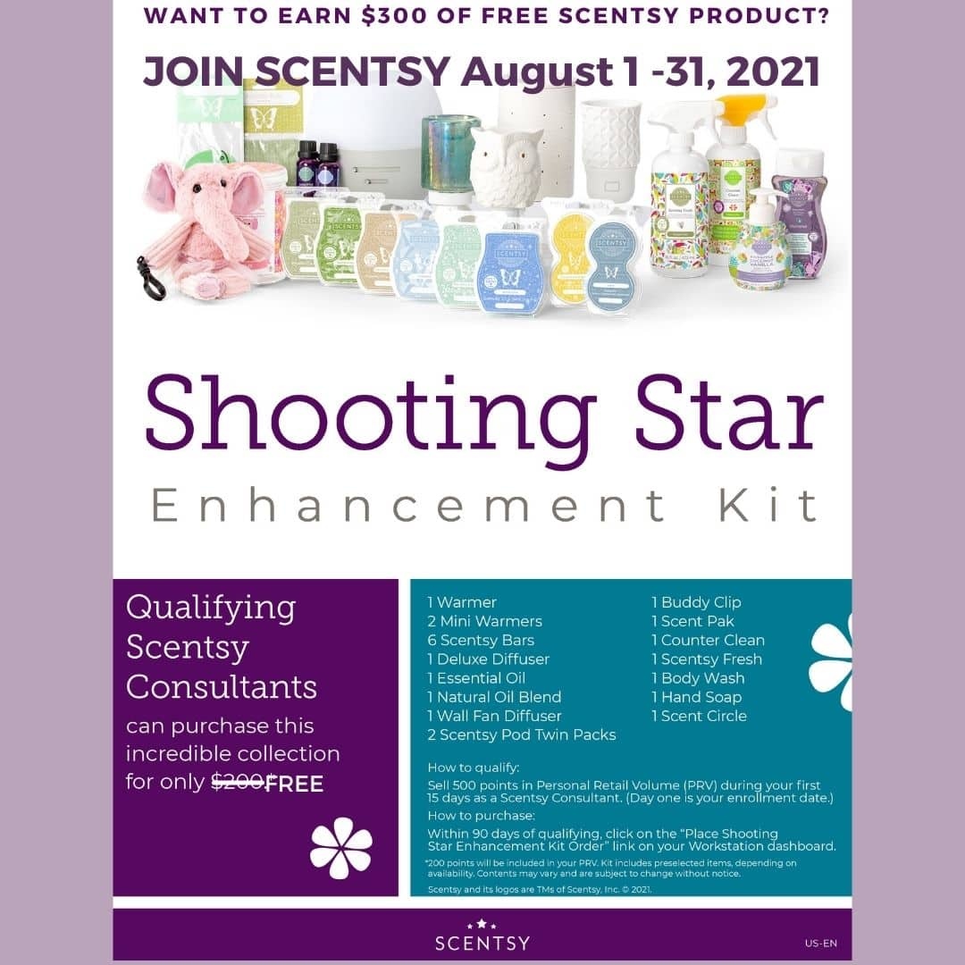 Join Scentsy in August 2021 – Earn the Shooting Star Kit for FREE *