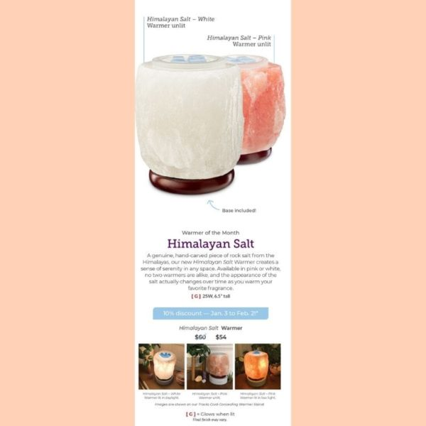 HIMALAYAN SALT WARMER PINK OR WHITE SCENTSY | HIMALAYAN SALT WHITE SCENTSY WARMER | JANUARY 2020 | Shop Scentsy | Incandescent.Scentsy.us