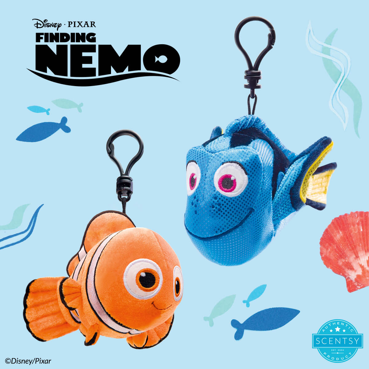NEMO AND DORY - SCENTSY BUDDY CLIPS - JUST KEEP SWIMMING SCENTSY FRAGRANCE