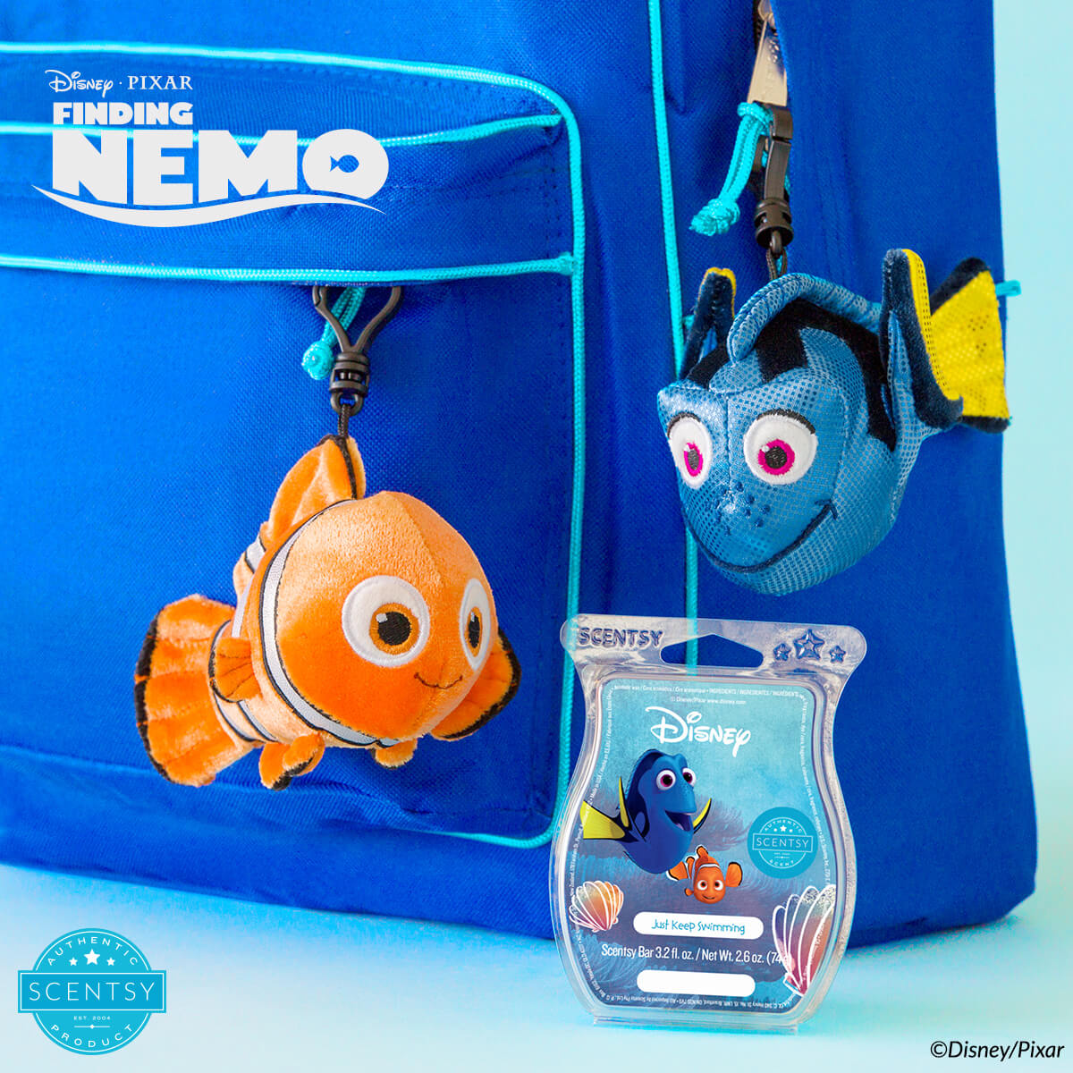 NEMO AND DORY SCENTSY BUDDY CLIPS AND JUST KEEP SWIMMING SCENTSY FRAGRANCE