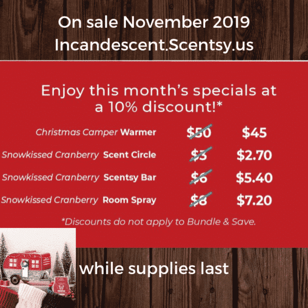 NOVEMBER 2019 MONTHLY SPECIAL PRICES | Christmas Camper RV Scentsy Warmer