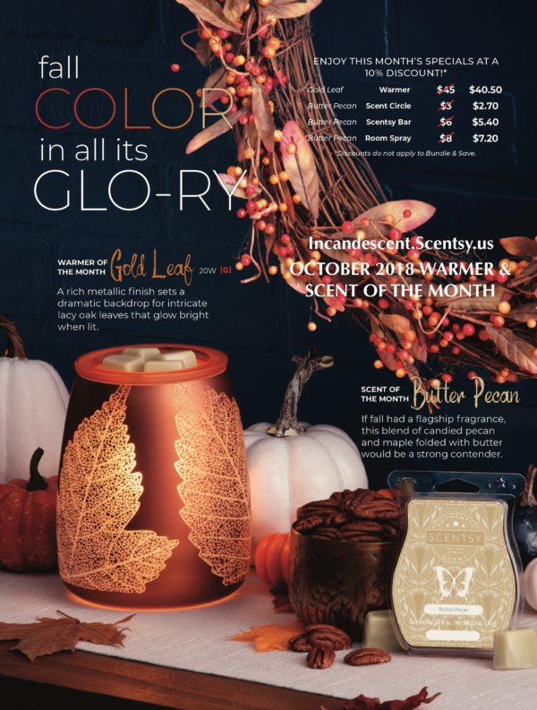 OCTOBER 2018 WARMER & SCENT OF THE MONTH - GOLD LEAF & BUTTER PECAN | NEW! BUTTER PECAN SCENTSY SCENT CIRCLE | Shop Scentsy | Incandescent.Scentsy.us
