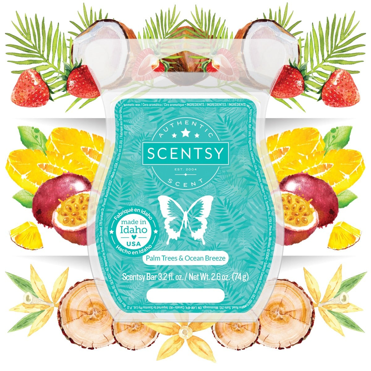PALM TREES OCEAN BREEZE SCENTSY BAR