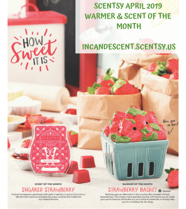 SCENTSY APRIL 2019 WARMER OF THE MONTH - STRAWBERRY BASKET | Sugared Strawberry Scentsy Bar